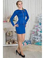 Синее однотонное платье  с баской