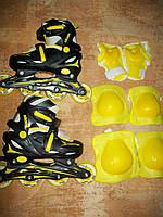Детские раздвижные ролики с набором защиты, размер 27-30