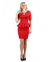 Красное платье  с баской с гипюровым верхом