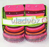 Детские носки с подошвой для девочки 4 (12 месяцев) в полоску 10.5 см-11.5 см.