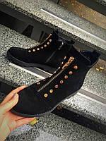 Стильные демисезонные замшевые ботинки