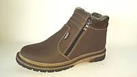 Зимние подростковые ботинки на змейках коричневые