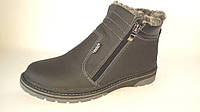 Зимние подростковые ботинки на змейках черные