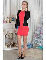 Приталенное платье с жакетом (красное платье и черный жакет)