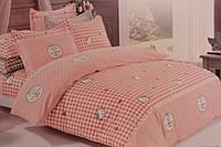 Детское постельное белье из сатина Китти Клеточка розово-персиковая