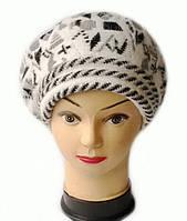 Берет женский вязаный Арина шерсть натуральная цвет белый