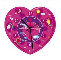 """Сборная пазл-игрушка Часы """"Сердечко (розовое)"""" (с часовым мех.) Материал: картон + изолон"""