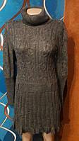 Вязаное платье туника, акрил, р.44-48 универсальный