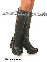 Женские зимние черные кожаные сапоги на цигейке на каблуке 10 см (размеры 36-40)