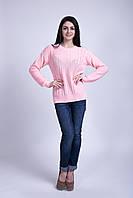 Джемпер вязаный удлиненный нежно-розового цвета