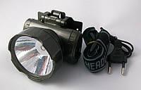 Фонарь налобный на голову аккумуляторный 1 свет-од