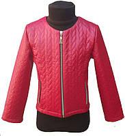 Куртка для девочки 104-134см, эко-кожа,  красный