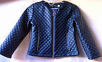 Куртка для девочки 104-134см, эко-кожа,  т.синий