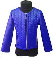 Куртка для девочки 104-134см, эко-кожа,  электрик