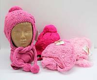 Шапка вязанная на флисе + шарф для девочки 9мес - 1год, 1-2 года