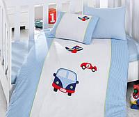 Постельное белье для детской кроватки Cotton Box вышивка Araba Mavi