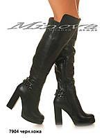 Демисезонные женские черные кожаные ботфорты на каблуке 11 см (размеры 35-40)