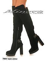 Женские зимние черные замшевые ботфорты на цигейке на каблуке 11 см (размеры 35-40)