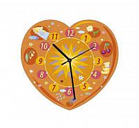 """Сборная пазл-игрушка Часы """"Сердечко (оранжевое)"""" (с часовым мех.) Материал: картон + изолон"""