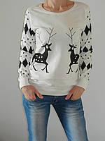 Свитер с оленями женский тонкий 100% хлопок (3 цвета) S, M, L, XL