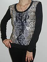 Трикотажная кофточка женская с леопардовым принтом Qianzhidu 713 (два цвета) рр. 46, 48