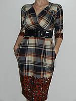 Трикотажное платье в клетку для офиса с отрезной талией и косыми карманами Exclusive 50105685 рр. M, L