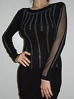 Короткое черное платье со стразами  и гипюром с длинным рукавом трикотаж Bella Nissa Турция рр. 44-4