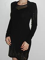 Вечернее черное платье трикотажное со стразами с длинным рукавом Fashion House Турция рр. 46-48