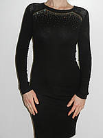 Элегантное черное платье со стразами  и гипюром с длинным рукавом трикотаж Bi-Emka Турция рр. 46-48
