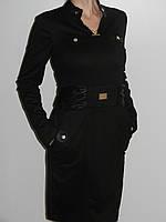 Черное платье с кожаными вставкам для офиса с длинным рукавом трикотаж Irena Richi (реплика) рр. XL