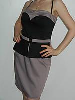 Красивое платье с баской трикотажное Irena Richi (реплика) рр. 46-48