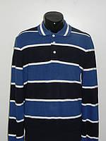 Мужской свитер поло в полоску ярко синий EXC 8072 размер M, L Турция