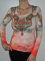 Нарядные блузки со стразами из трикотажа Treysi 5252 Турция рр. М-L