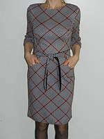 Платье в клетку для офиса с карманами и поясом Riil Турция р. M