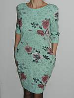 Нежное трикотажное платье мятное с розами Fashion Турция р. L, XL