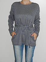Трикотажная блузка большого размера 56-58 серо-синяя 2380 Турция
