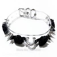 Прозрачный ошейник чокер с кольцом, шипами и черными тканевыми цветами на пряжке