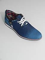 Мокасины джинсовые мужские синие на шнурках размеры 40-44 Bumerics Турция