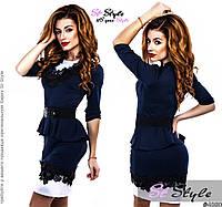 Стильное трикотажное темно-синее платье с черными кружевными вставками и пояском . Арт-2421/66