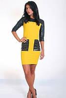 Желтое женское платье с карманами из эко кожи, фото 1
