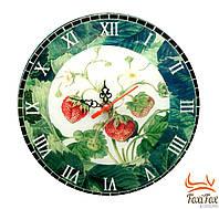Стеклянные настенные часы Клубника