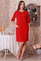 Красное платье с прорезными карманами