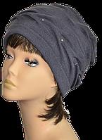 Шапка Аврора  на сезон весна-осень  женская из трикотажа  мустанг стильная  размер 57-59 темно серая
