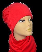 Женский набор (шапка и шарф )  из ангоры Роза размеров 56-58 коралловый