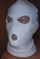 Балаклава зимняя белая 3 точечная, тёплая шерстяная