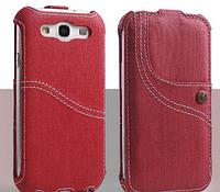 Уникальный чехол флип для Samsung Galaxy S3 i9300 джинс красный