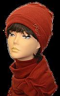 Шапка женская из ангоры стильная Коловорот размер 56-58 кирпичный
