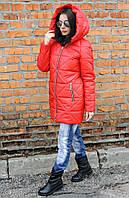 Куртка-парка женская Полина красный (42-52), фото 1