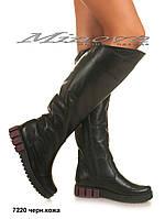 Демисезонные женские черные кожаные сапоги на танкетке 3,5 см (размеры 36-41)