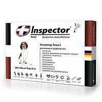 Капли Inspector (Инспектор) для собак 10-25 кг, от внешних и внутренних паразитов, 1 пипетка
